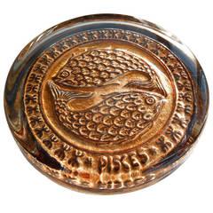 Mid-Century Venetian Glass Zodiac Paperweight, Pisces