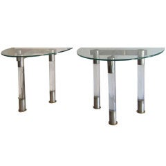 French Art Deco Lucite and Chrome Demi-Lune Tables