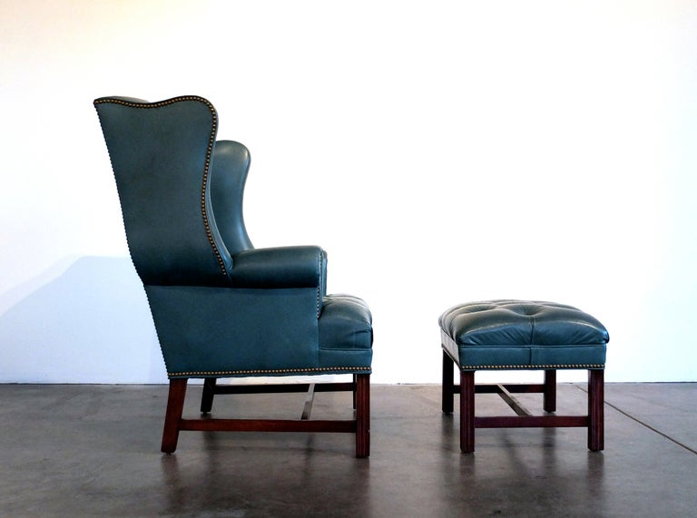 Tufted Leather Wingback Chair And Ottoman By Hancock U0026 Moore 2