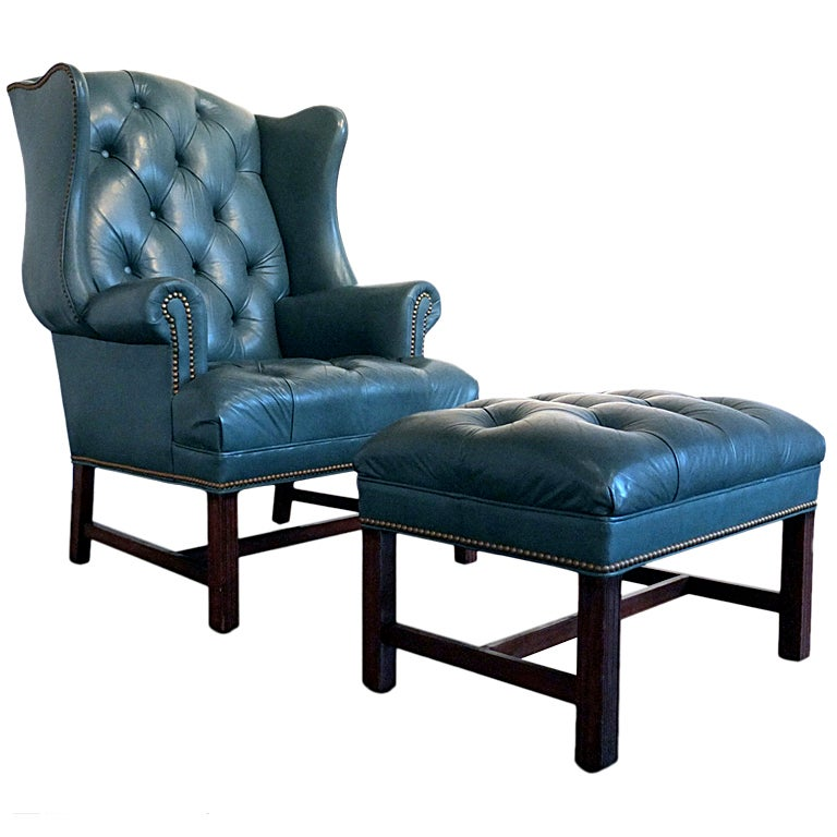 Hancock And Moore Tufted Leather Sofa: Tufted Leather Wingback Chair And Ottoman By Hancock And