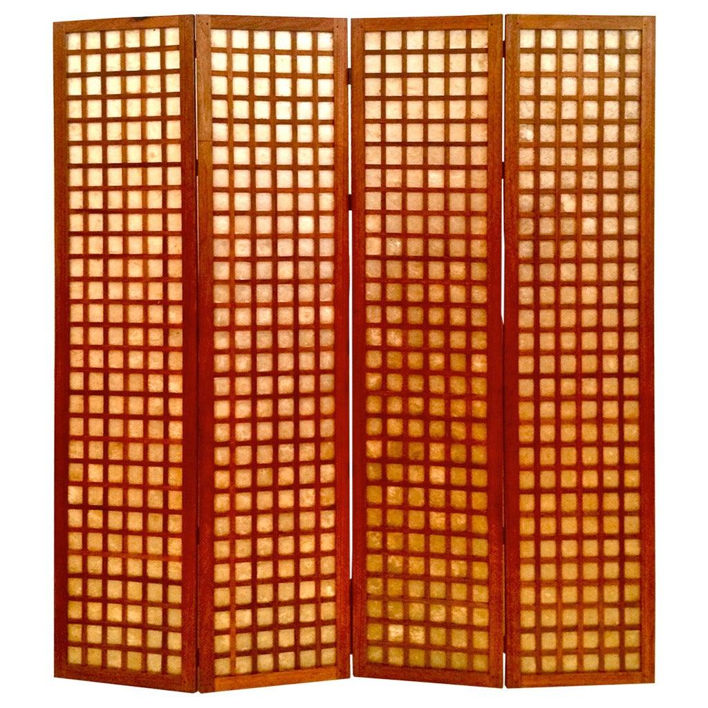 Danish Modern Tall Folding Screen in Mahogany and Capiz
