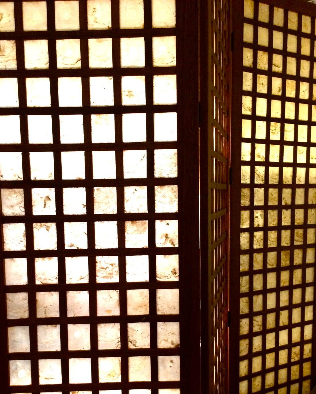 Danish modern tall folding screen in mahogany and capiz for Capiz window