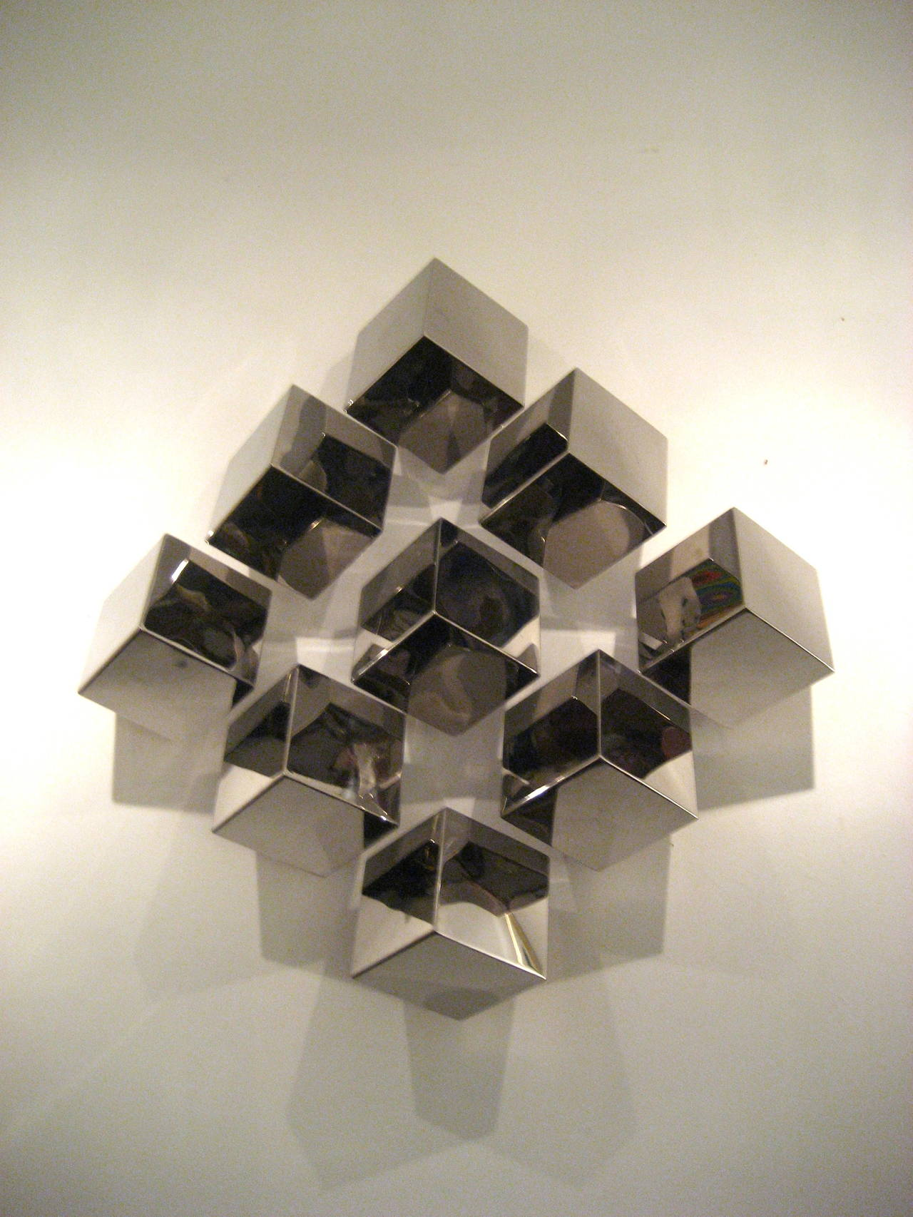 Wall Sculptures Contemporary Nickelplated Multicubes Large Wall Sculpture At 1Stdibs