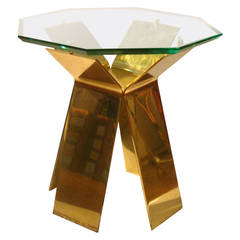 Solid Brass Cocktail Table with Thick Octagon Crystal Glass