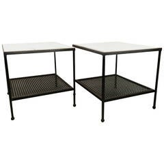 1950s Atomic Age Iron and Marble Set of End Tables