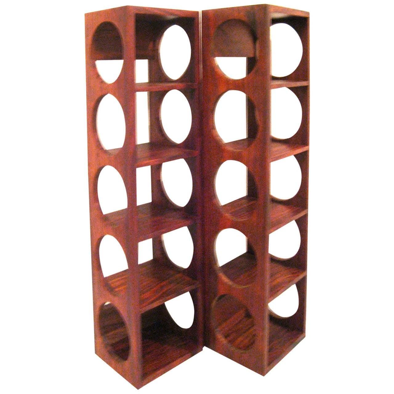 danish modern rosewood set of wallmounted wine racks 1