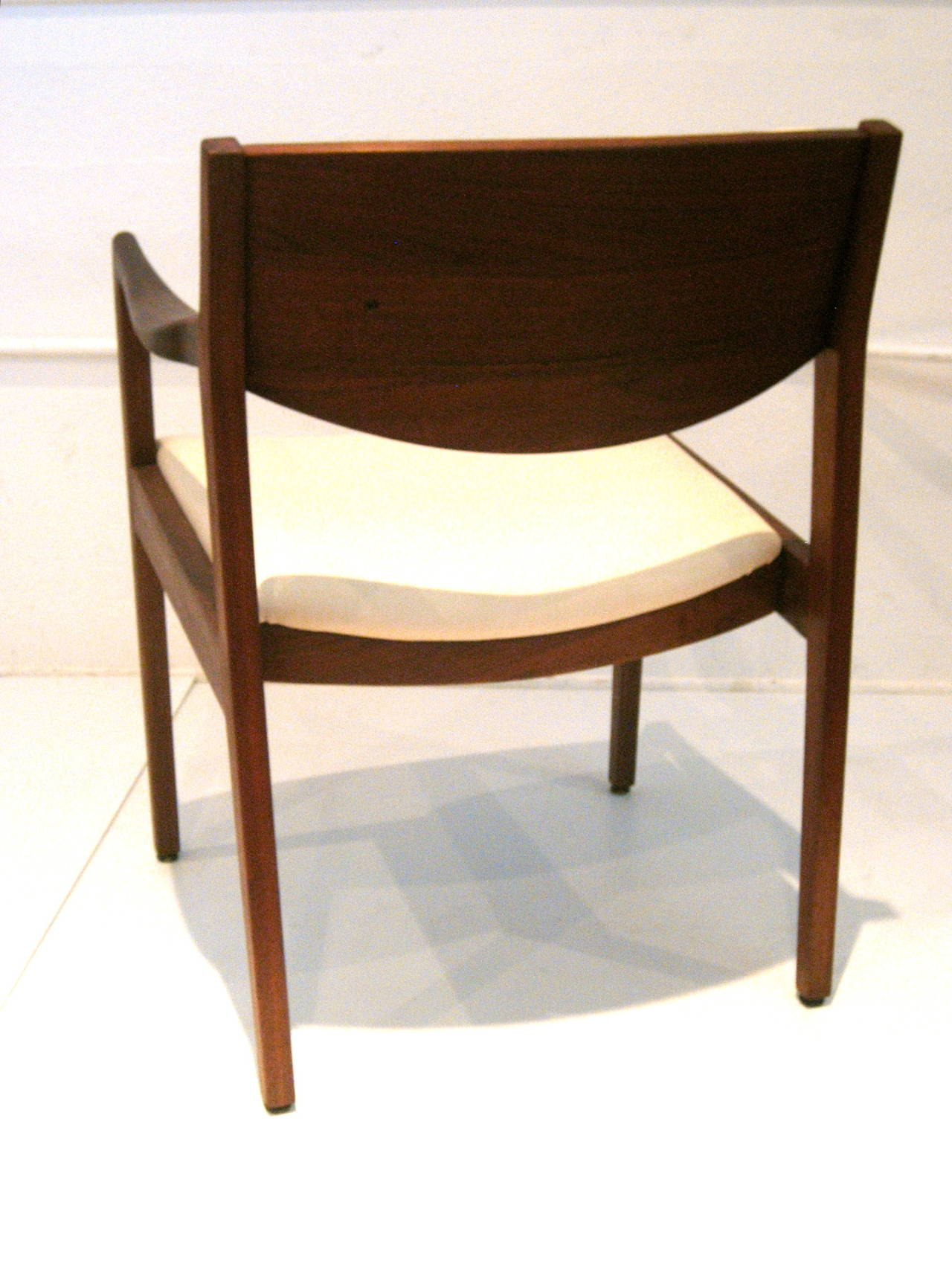 Pair of Danish Modern Solid Walnut Armchairs by Gunlocke