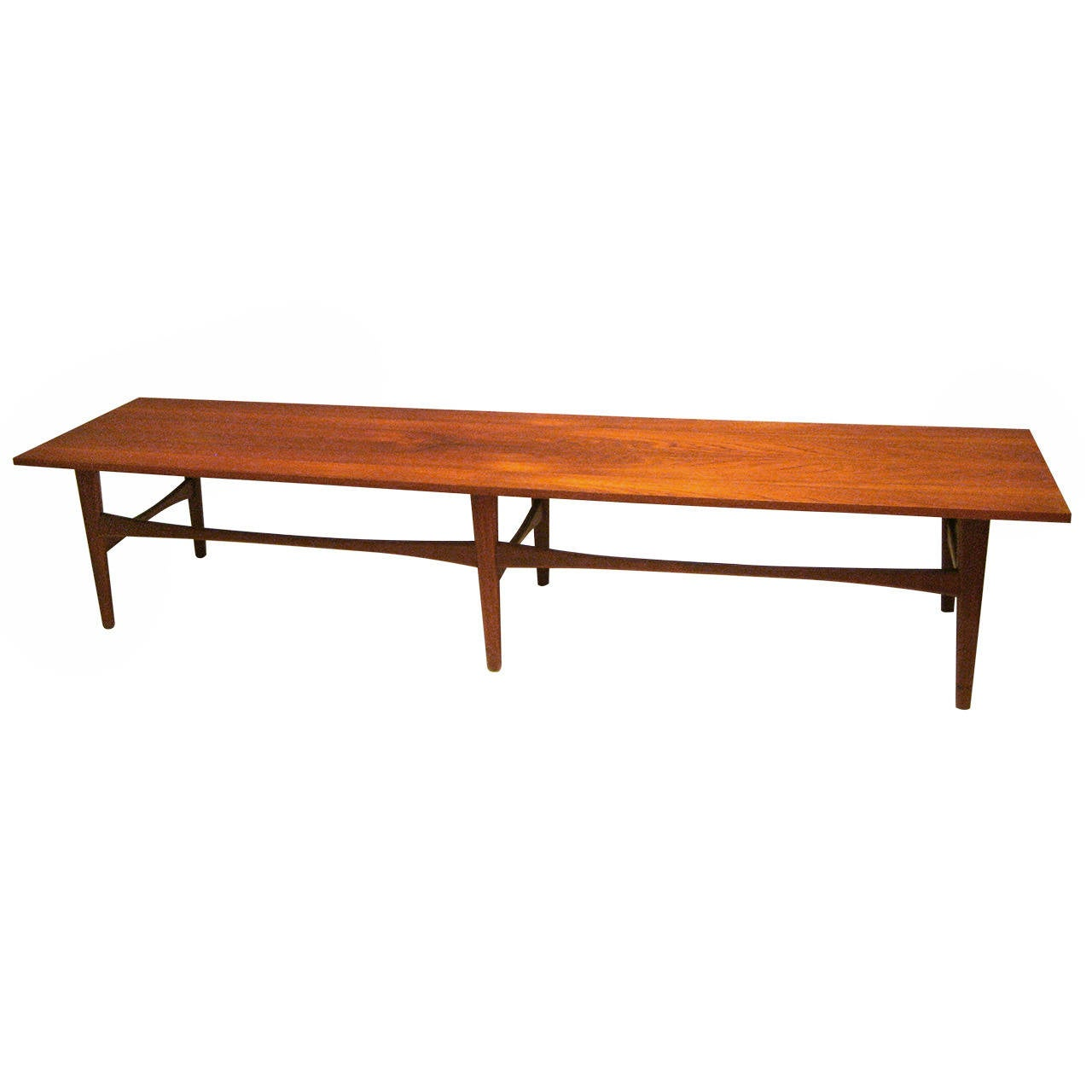 Danish modern long coffee table or bench in teak at 1stdibs for Narrow cocktail table