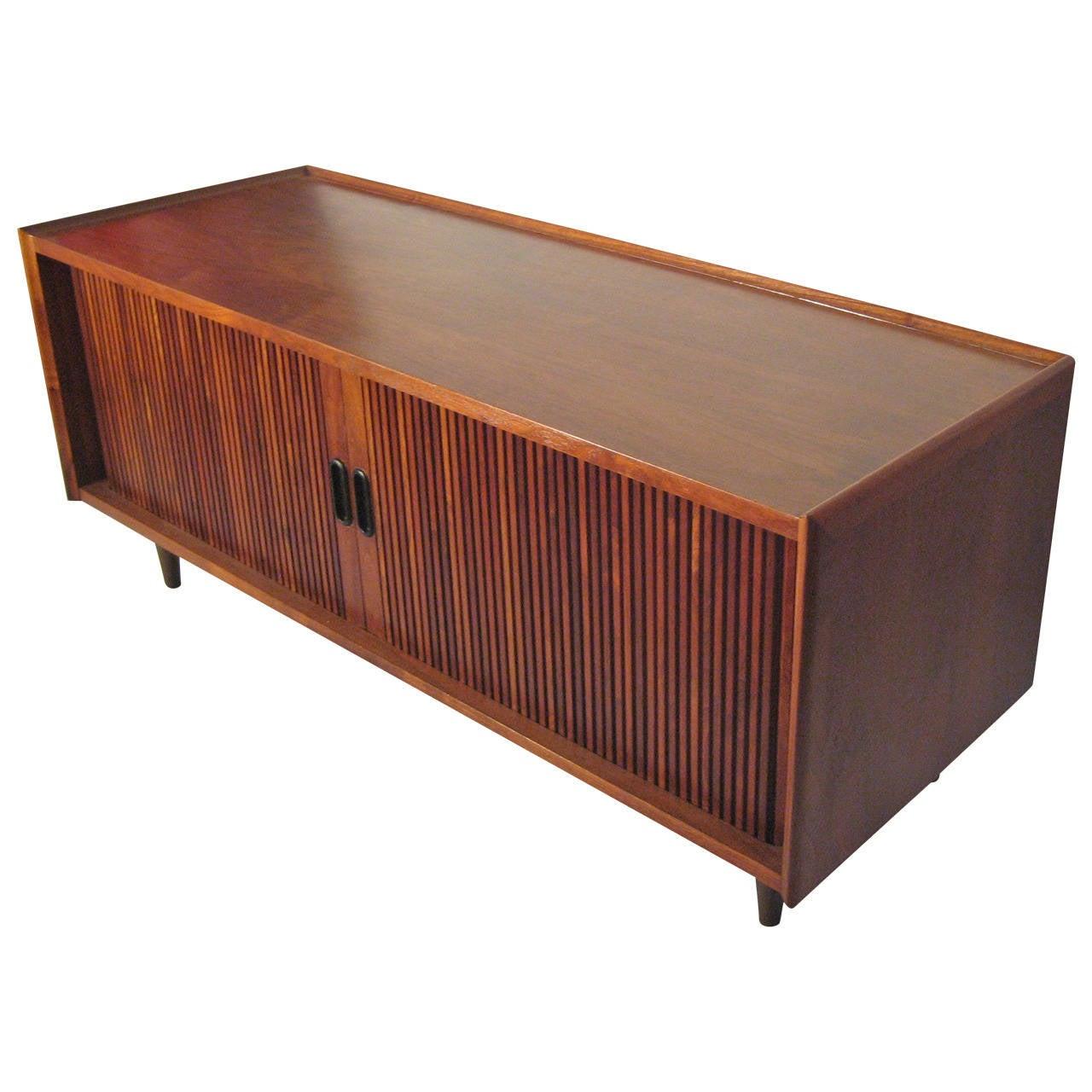 danish modern walnut media low cabinet tambour doors at 1stdibs. Black Bedroom Furniture Sets. Home Design Ideas