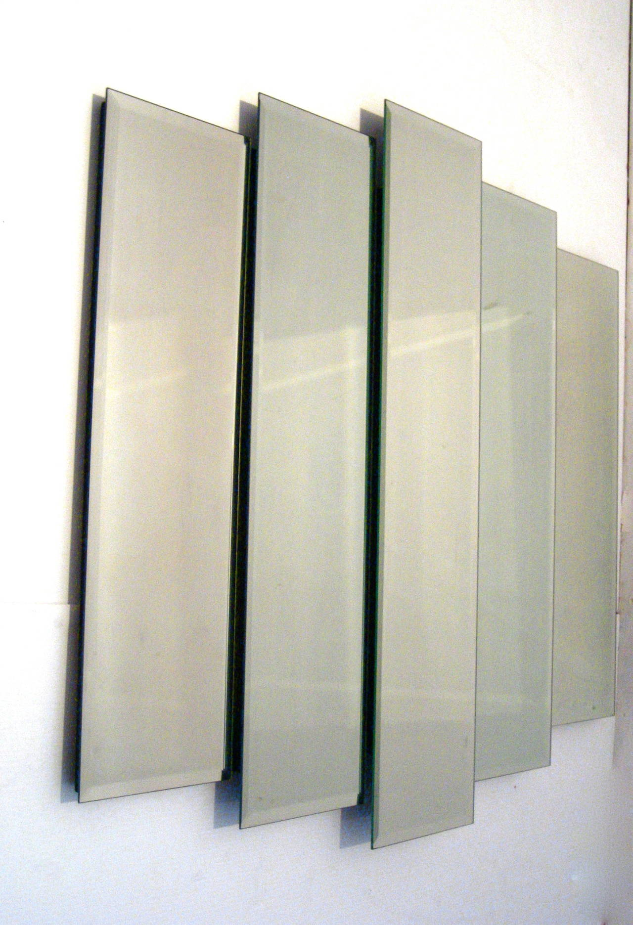 1970s modernist multilevel large decorative mirror at 1stdibs for Large accent mirrors