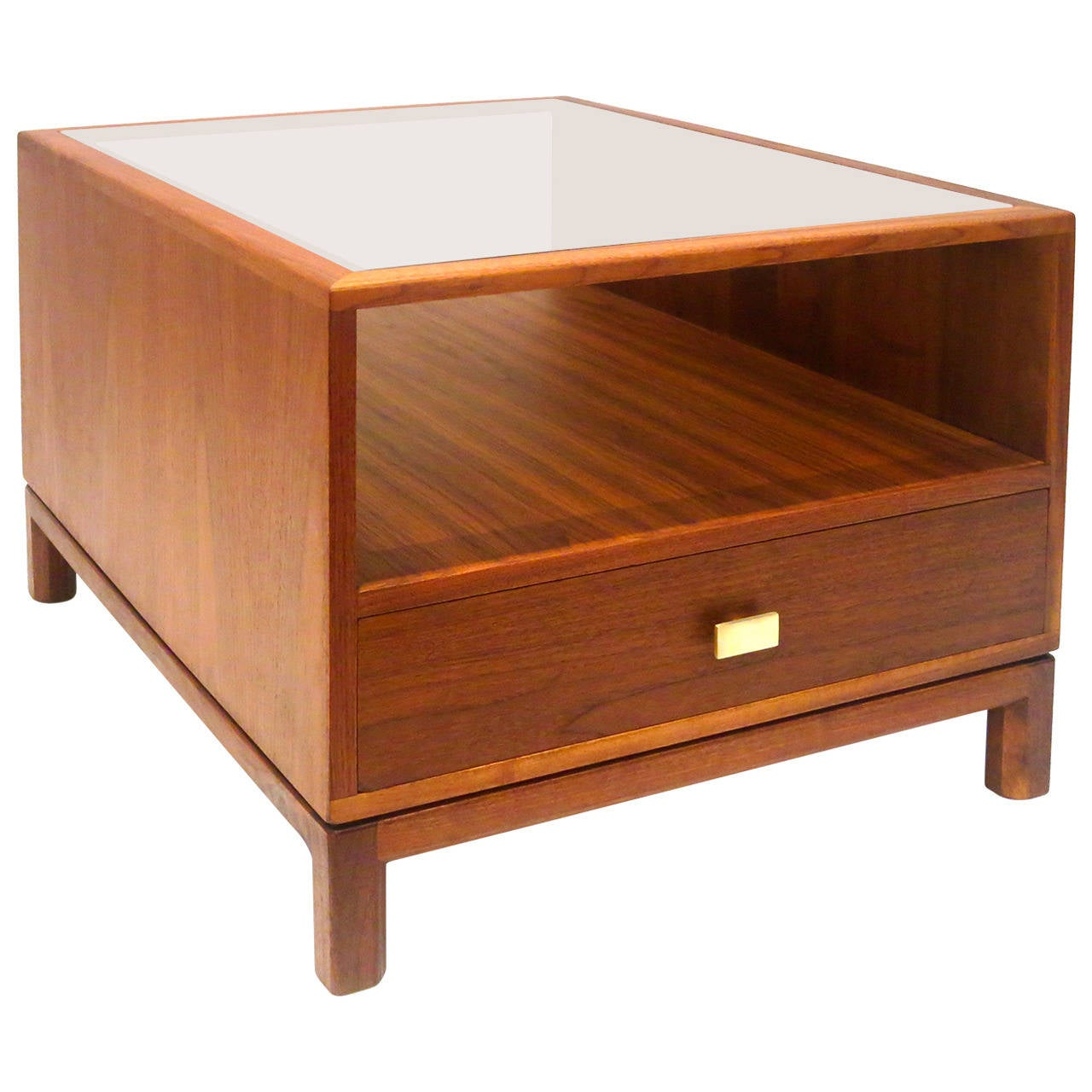 American modern walnut large cocktail table with smoked glass california design at 1stdibs Large glass coffee table