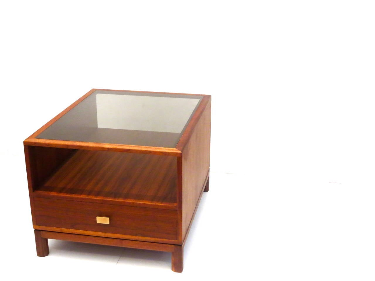 American modern walnut large cocktail table with smoked for Contemporary glass cocktail tables