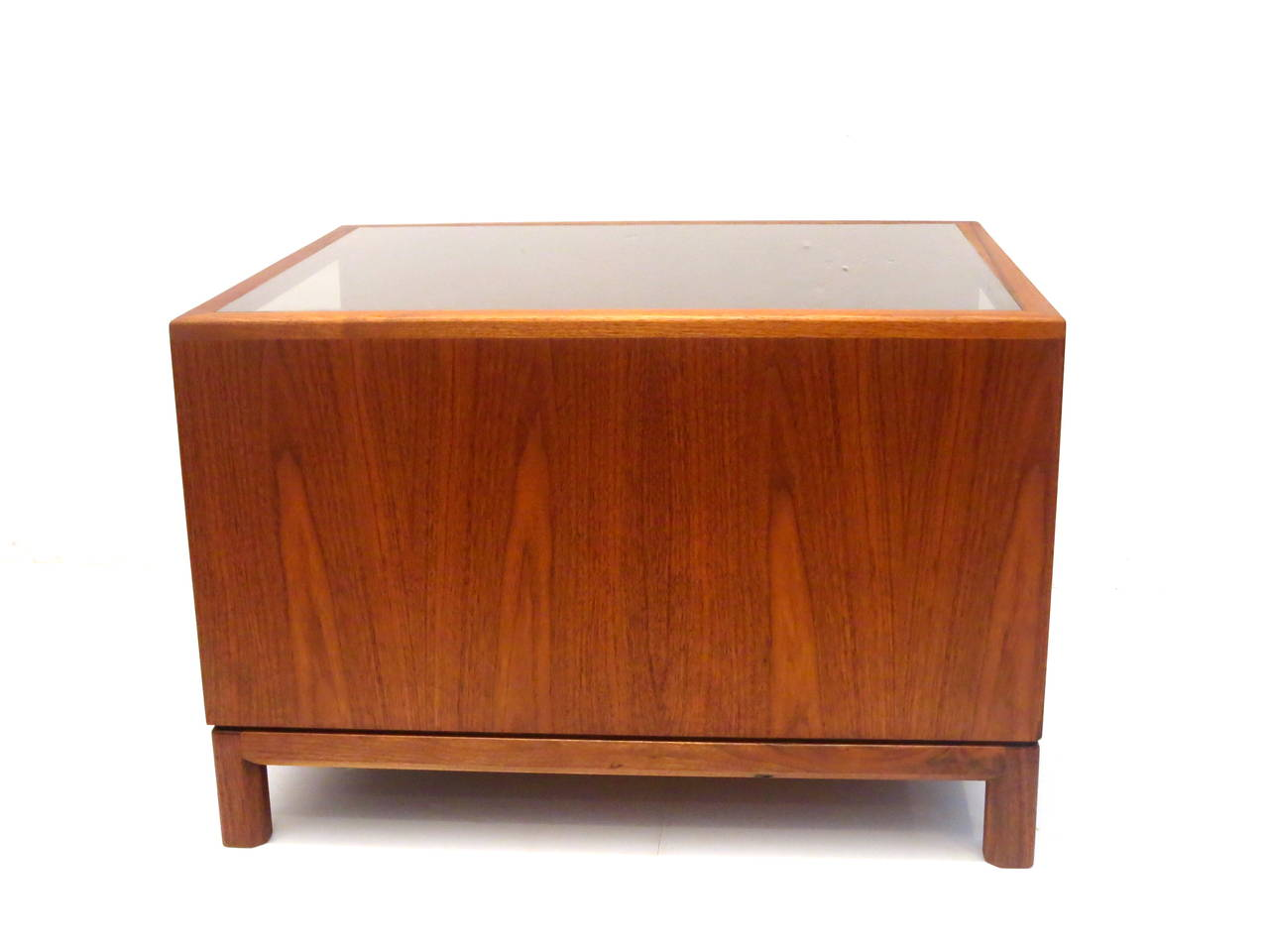 American Modern Walnut Large Cocktail Table With Smoked Glass California Design At 1stdibs