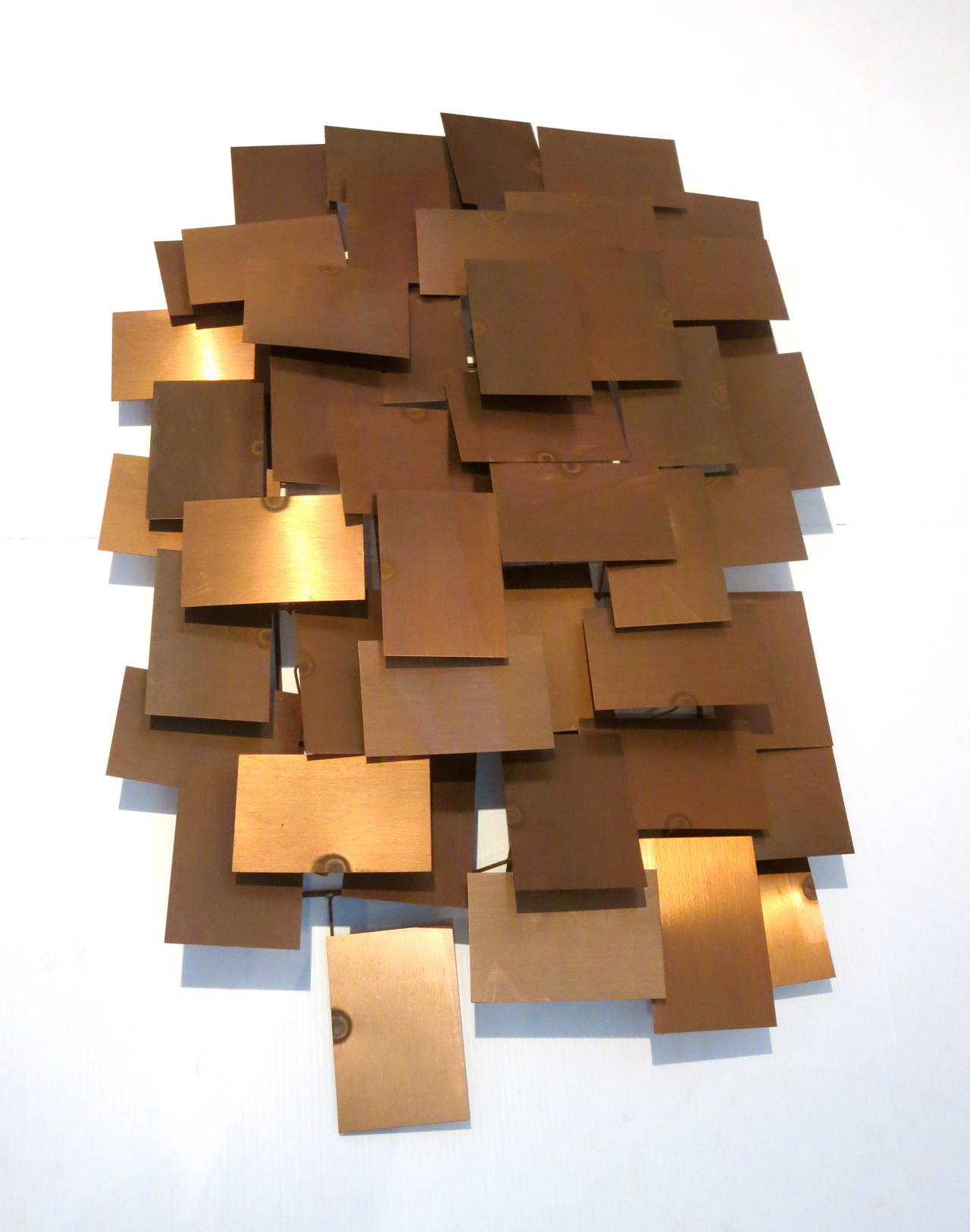 1970s solid copper squares large wall sculpture in the for Copper wall art