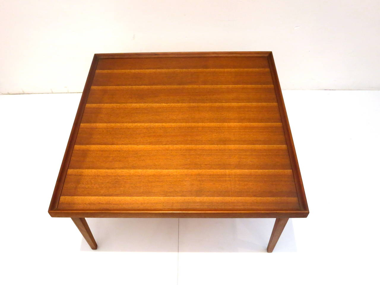 1950s American Modern Walnut Square Coffee Table With Black Trim At 1stdibs