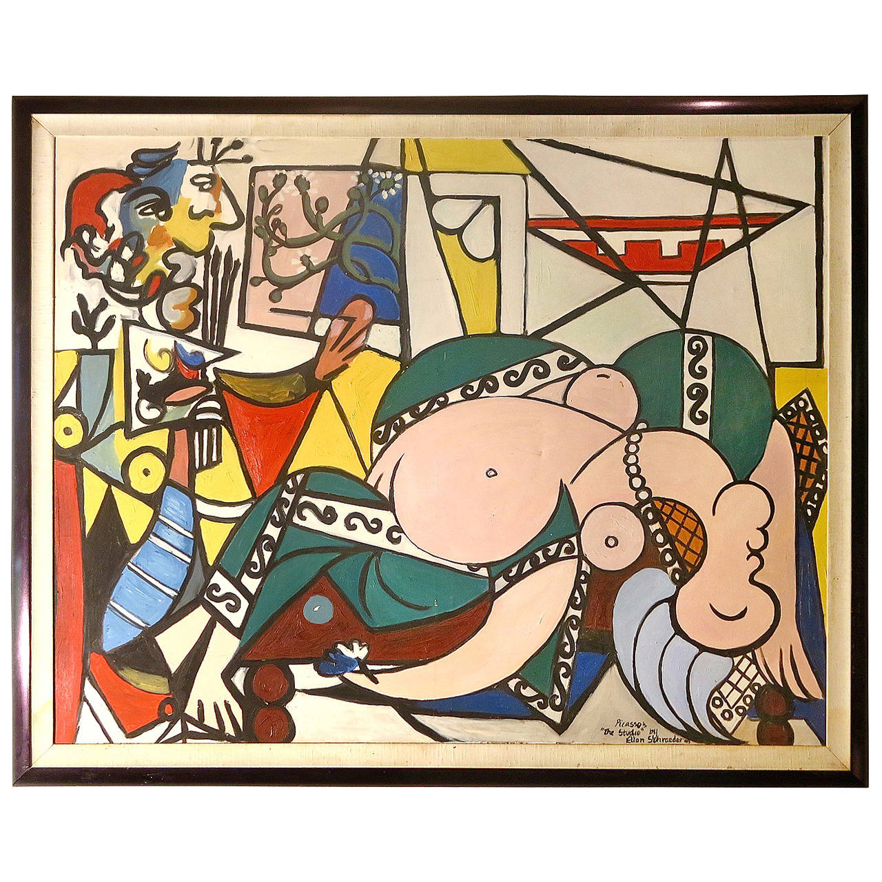 Contemporary Abstract Oil on Canvas Picasso Style Painting by Ellen Shraeder