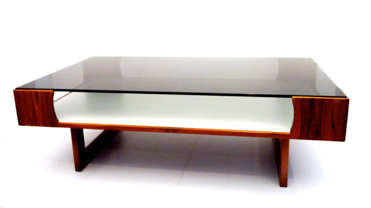 1970s rosewood coffee table display case by torbjorn afdal for bruksbo at 1stdibs