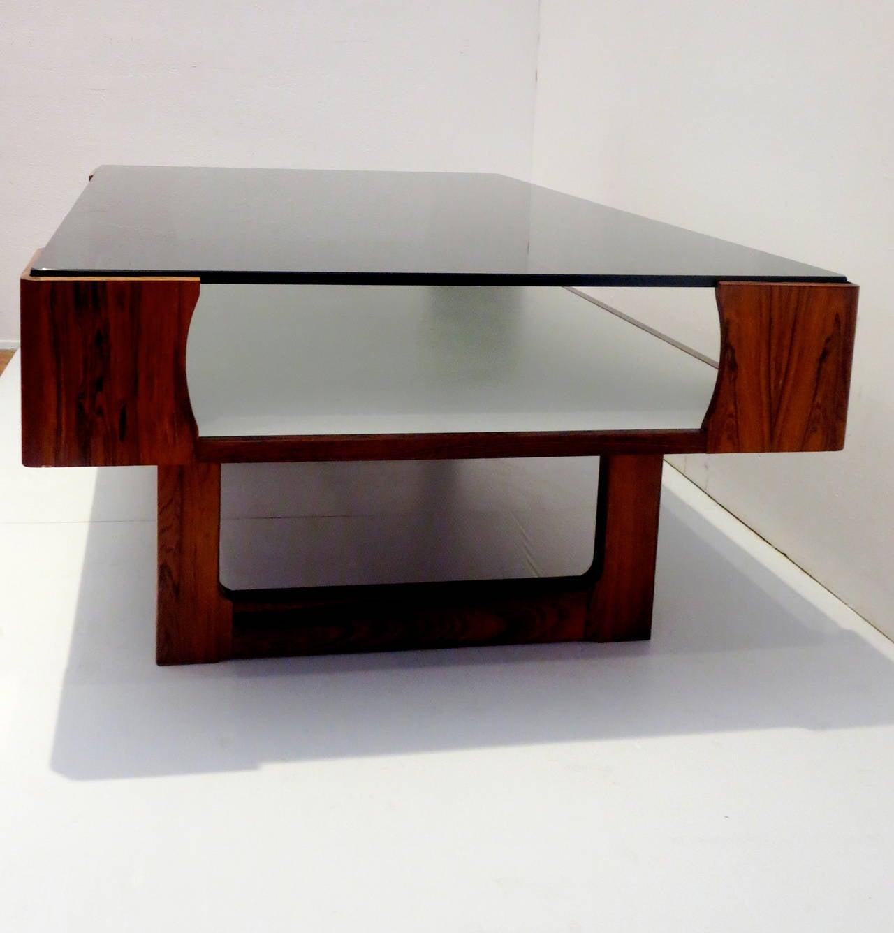 1970s Rosewood Coffee Table Display Case By Torbjorn Afdal