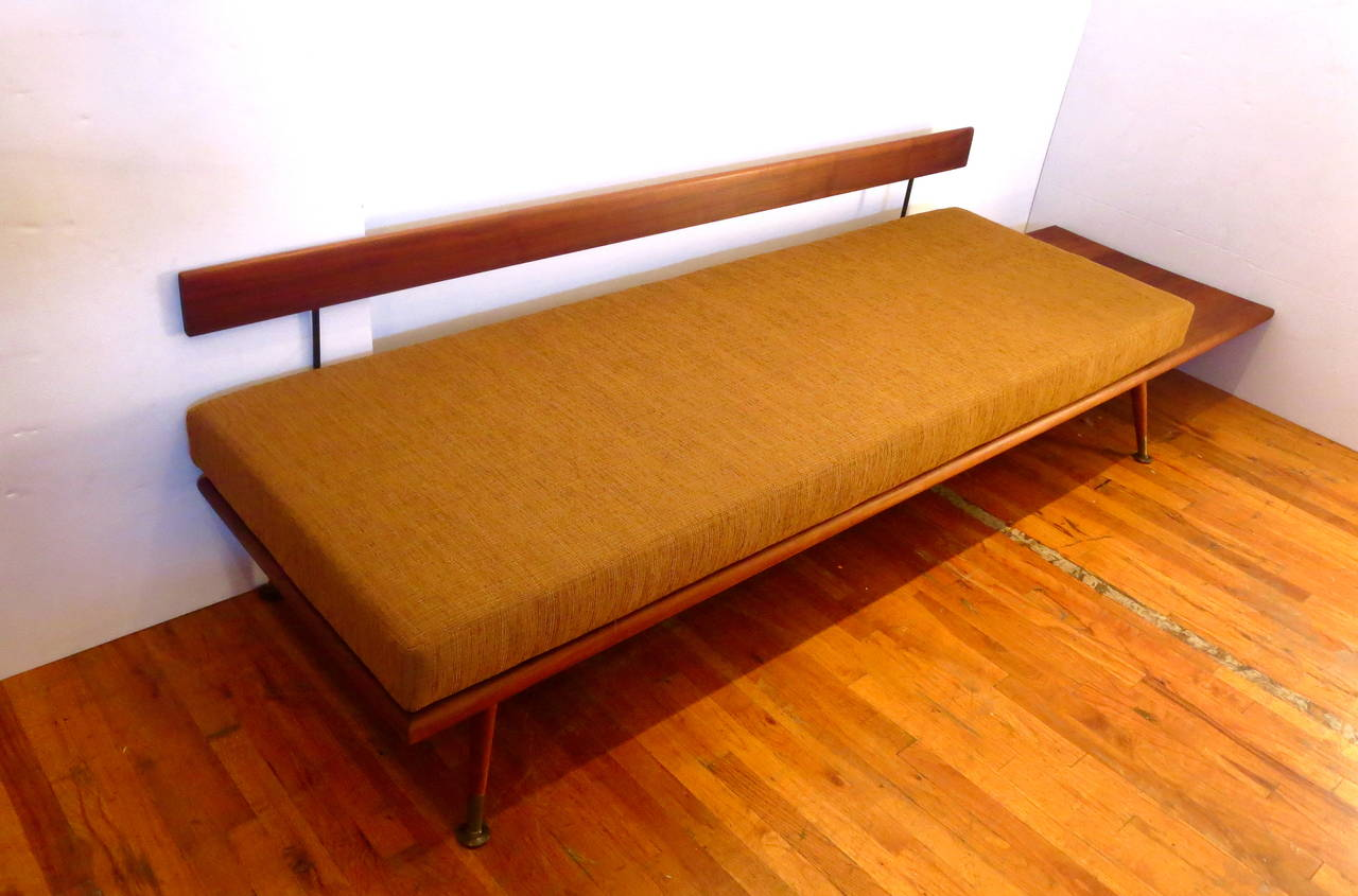 1950s solid american walnut sofa or daybed with attached table at 1stdibs - Beds with desks attached ...