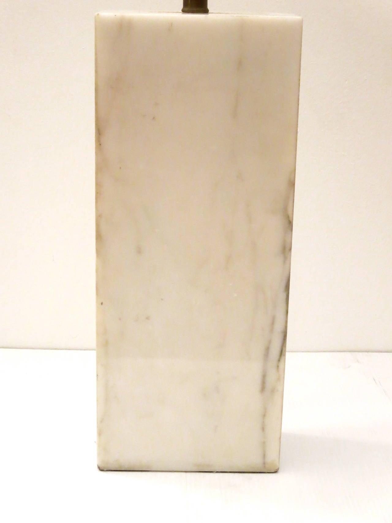 Striking Solid Large Block Of Italian Marble Table Lamp 3