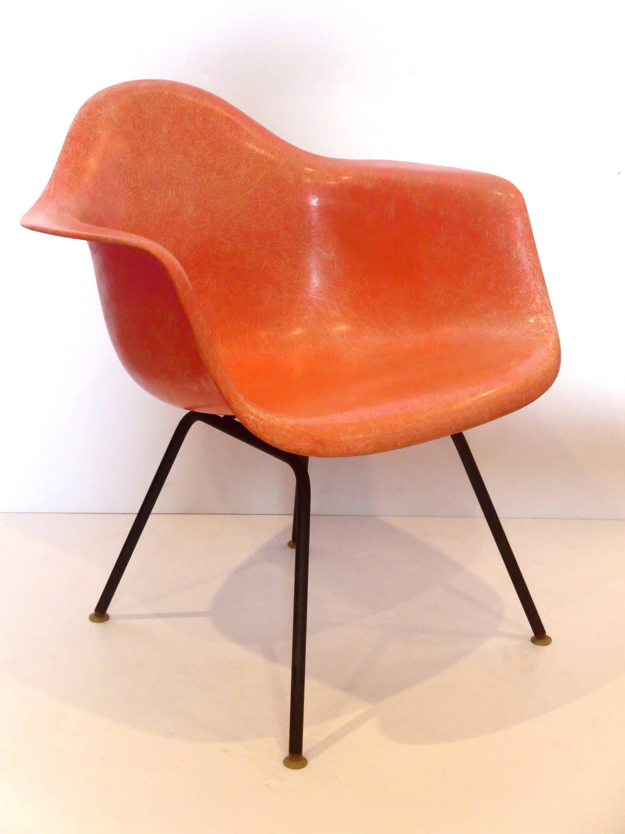 Superieur Beautiful Salmon Color, On Black Steel Base ,fiberglass Shell Arm Chair,  Dated 1957