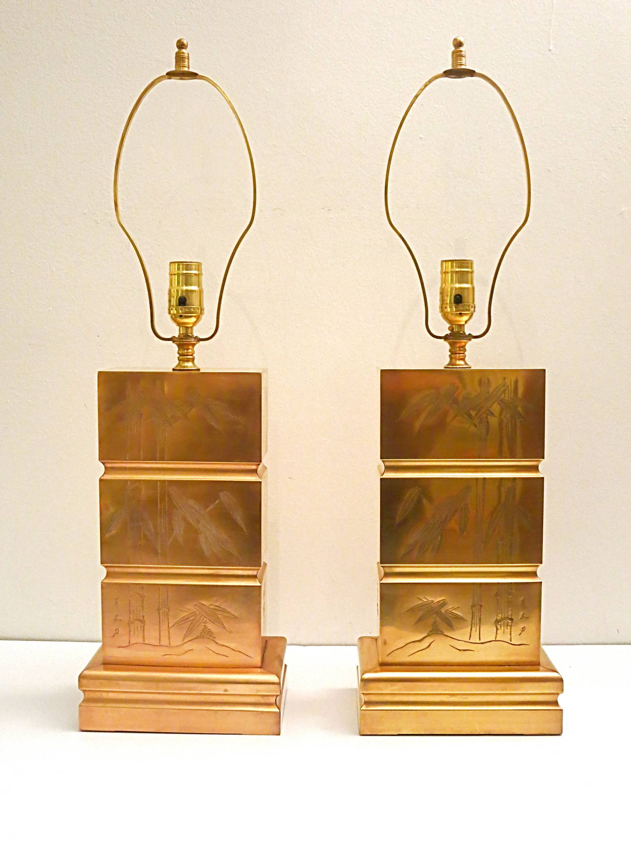 Pair of Brass Bamboo Etching Art Deco Table Lamps at 1stdibs