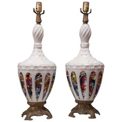 Pair of Polichomed 1950´s Ceramic Lamps