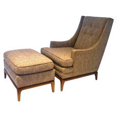 1950s Elegant Tall Back Lounge Chair and Ottoman Attributed to Robsjohn-Gibbings