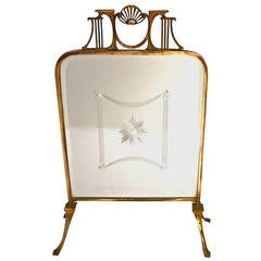 Art Nouveau Brass Fire Screen with Beveled Mirror Design Victorian Style