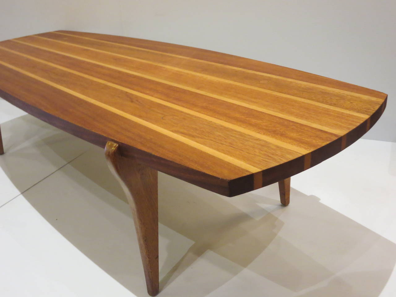 Mid Century Modern Rare Surfboard Coffee Table Brown