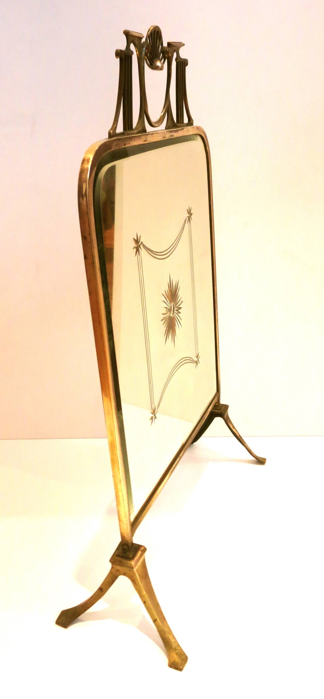 Art Nouveau Brass Fire Screen with Beveled Mirror Design Victorian ...