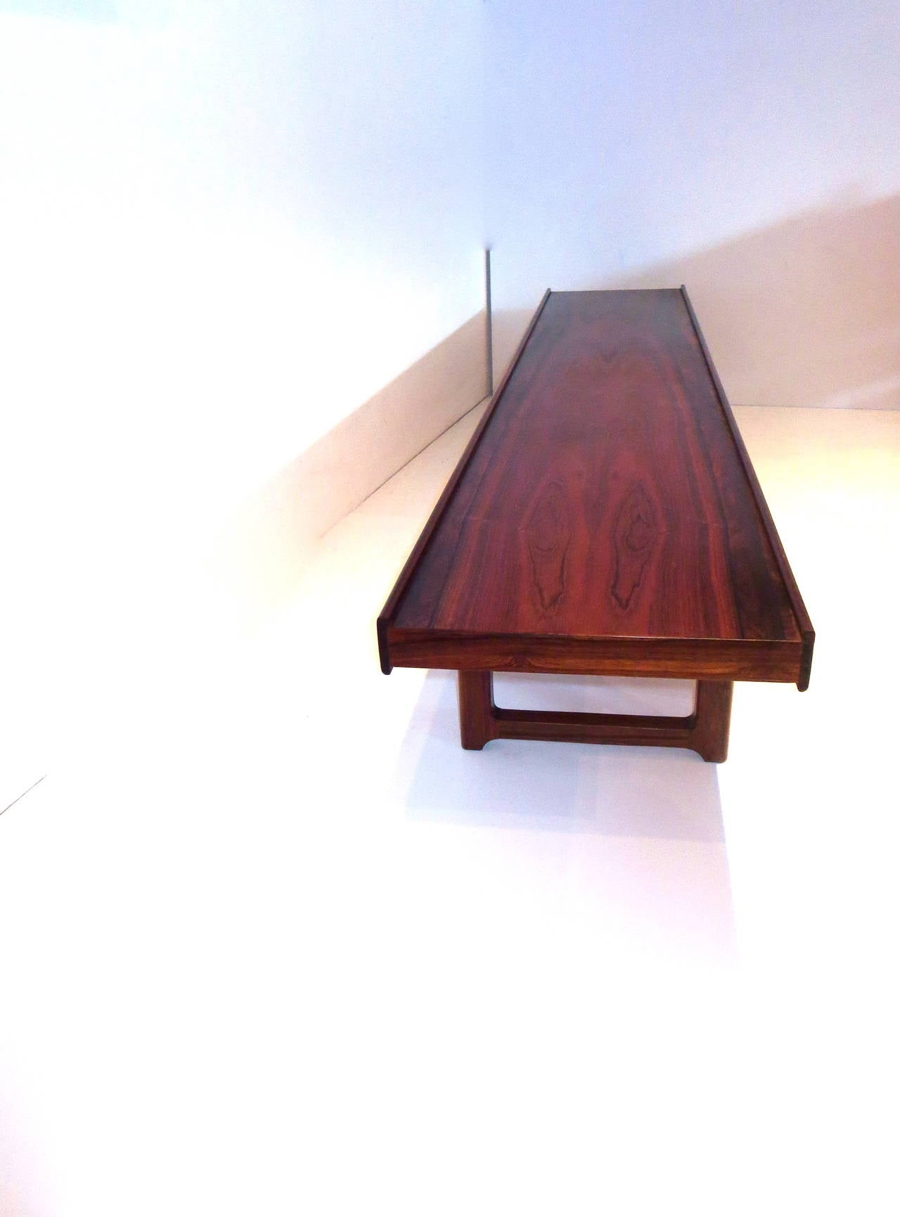 Scandinavian Modern Long Low Profile Bench Or Coffee Table In Rosewood Torbjørn Afdal For Bruksbo