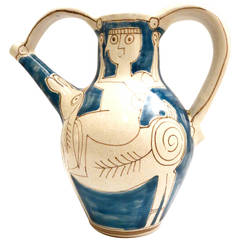 Hand-Painted Ceramic Water Jug by Giovanni Desimone with Cubist Picasso Design