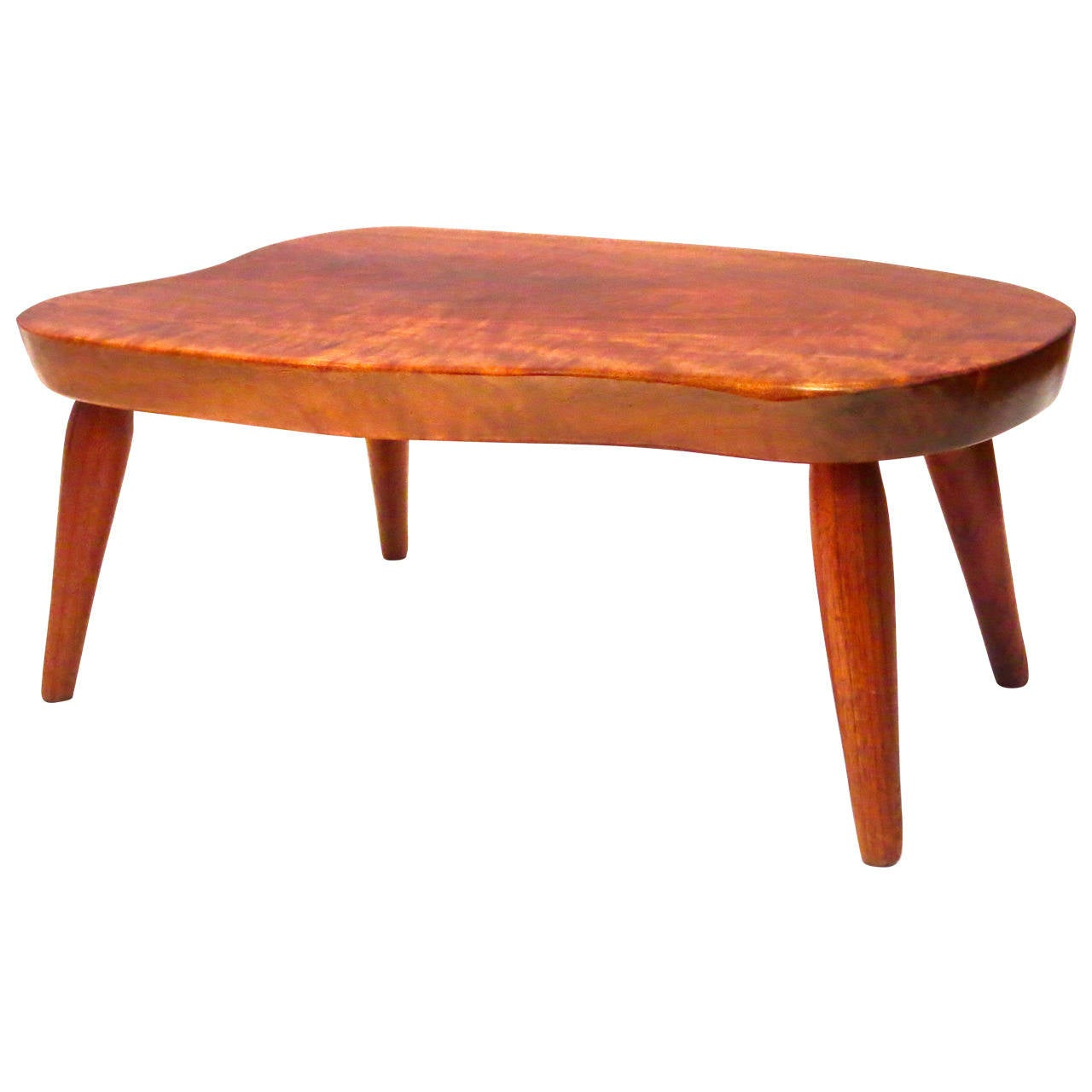 1960s American Modern Free Form Low Cocktail Table In Solid Walnut At 1stdibs