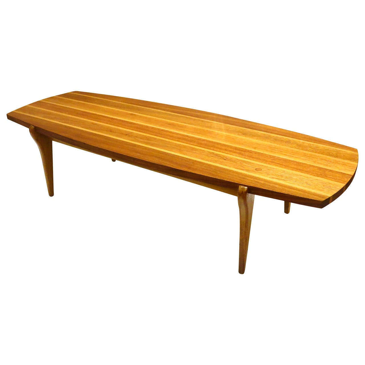 Mid Century Modern Rare Surfboard Coffee Table Brown Saltman By John Keal At 1stdibs