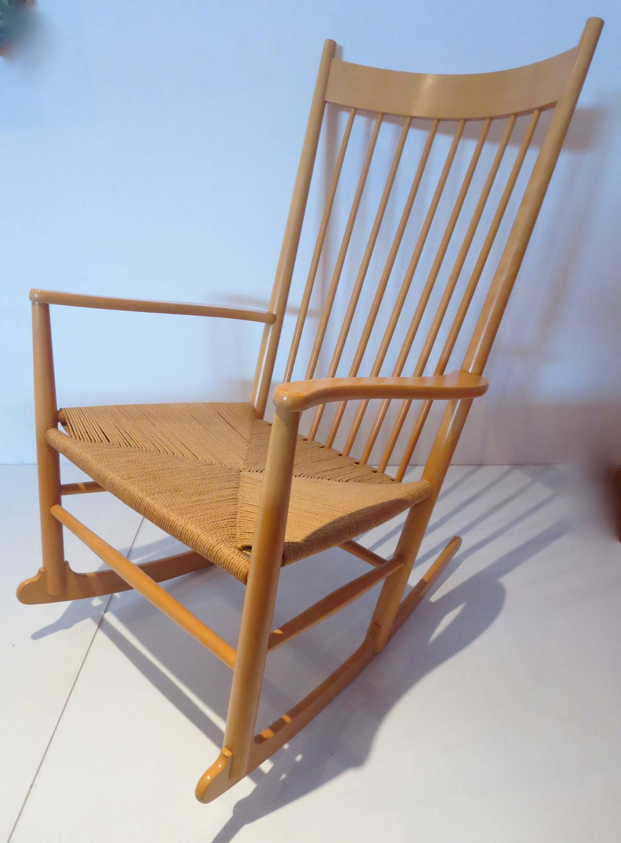 Charming Elegant Rocking Chair Design By Hans Wegner, Model J16 With Rope Seat And  Leather Pads
