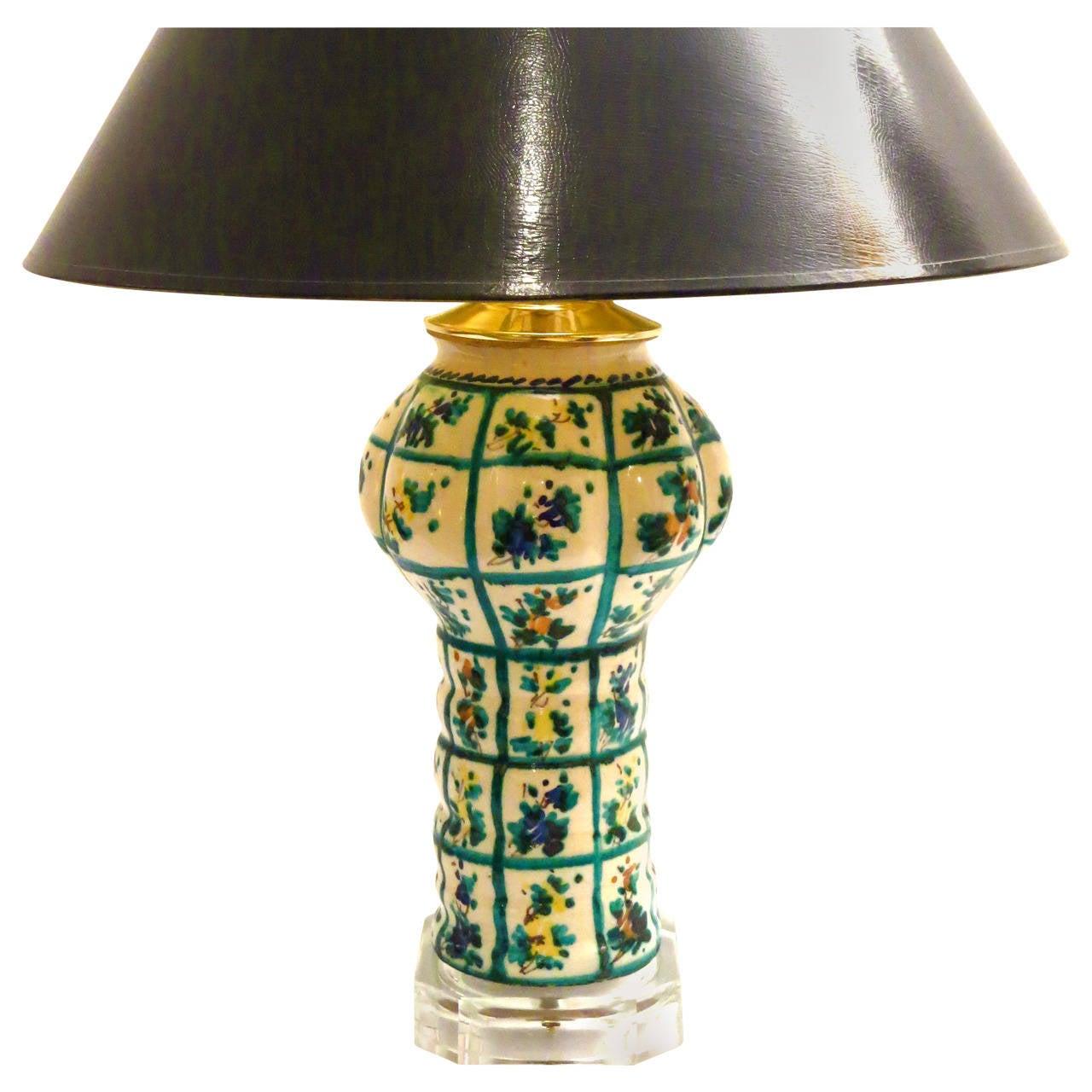 Modern Ceramic Vase Table Lamp: Italian Majolica Hand-Painted Ceramic Vase Lamp Signed By
