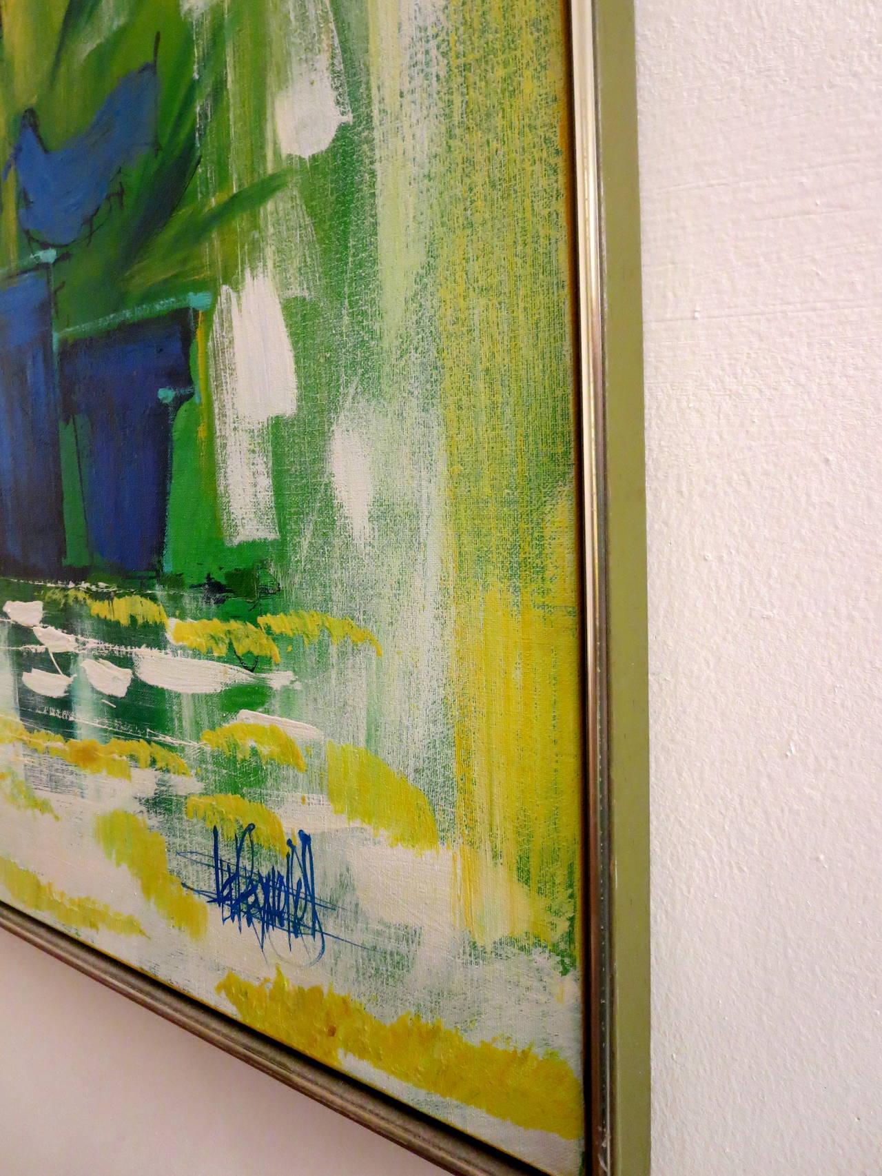 1960s Striking Large Oil On Canvas By Lee Reynolds Still