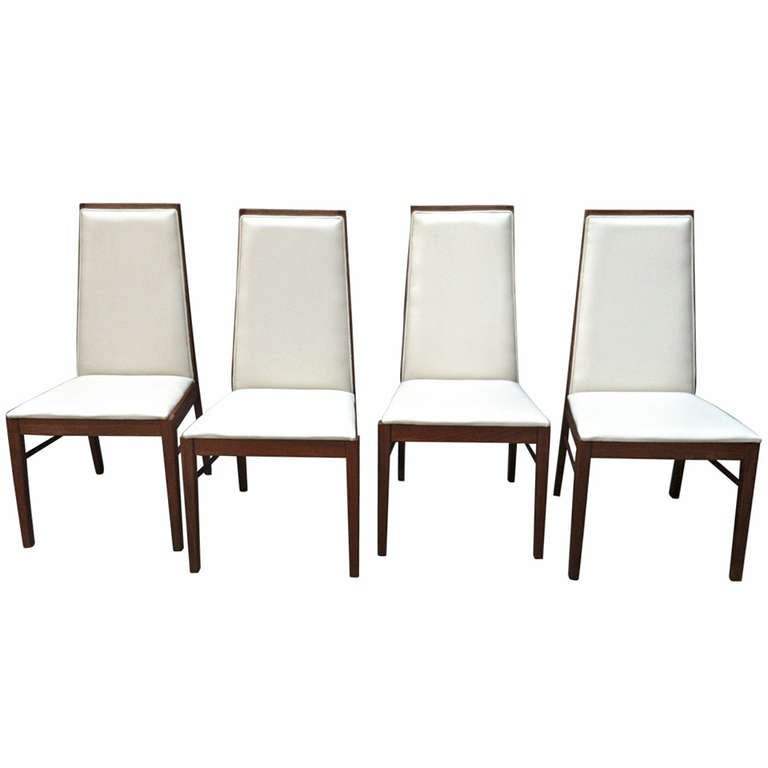 Set of four danish modern dillingham high back dining for Modern high back dining chairs