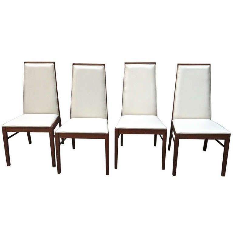 Set of four danish modern dillingham high back dining for Modern high back dining chairs