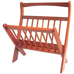 Danish Modern solid teak folding magazine rack