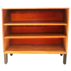American Modern 1950s  solid ash wood book caze with orange back.