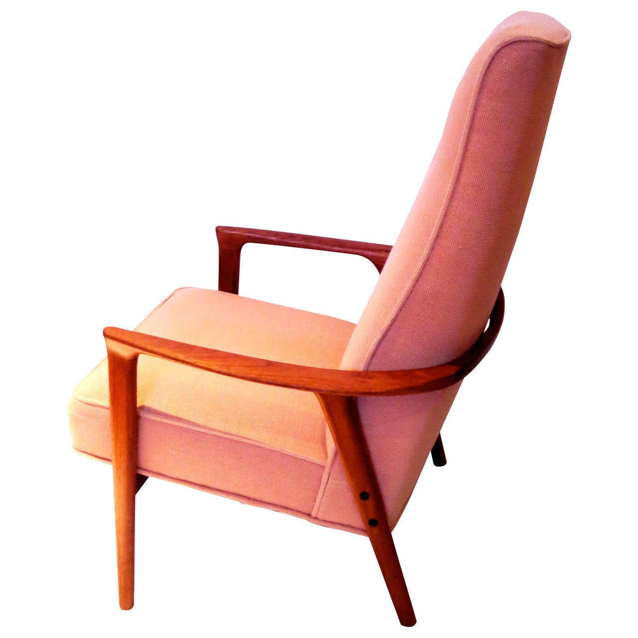 Danish modern solid teak high back armchair with for Modern armchair