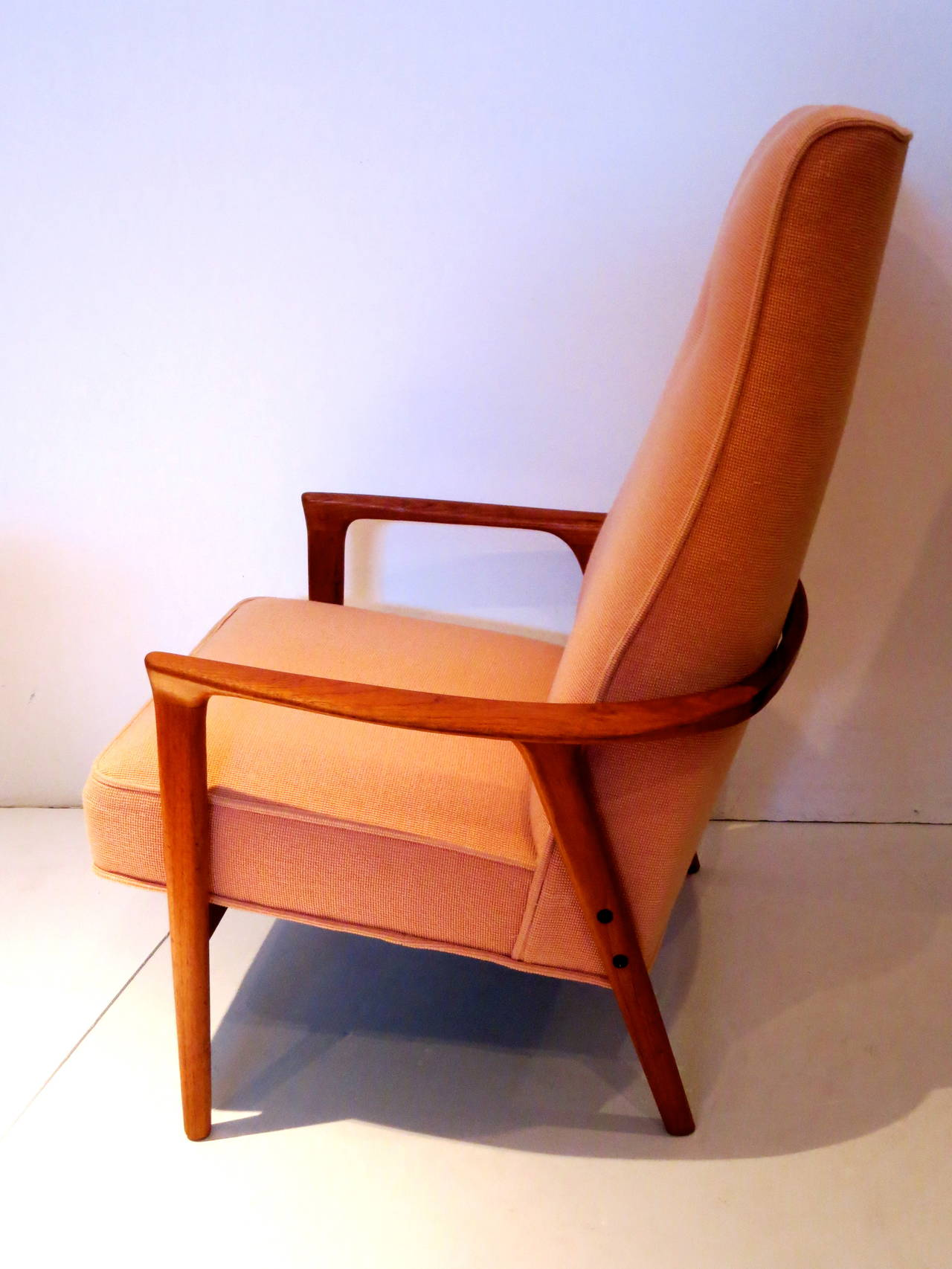 Danish Modern Solid Teak High Back Armchair with Sculptural Shape