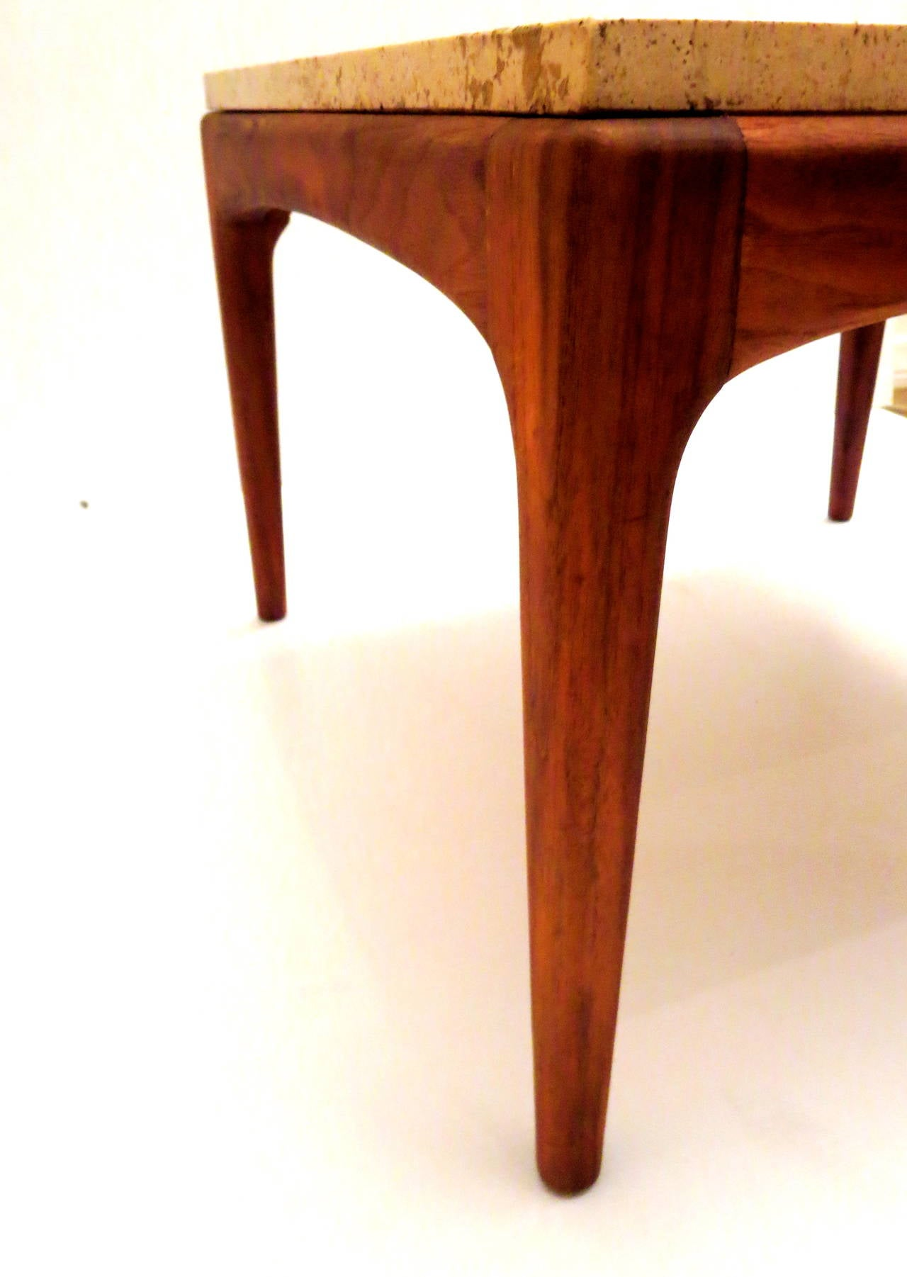 Mid Century American Modern Low Walnut And Marble Cocktail Table At 1stdibs