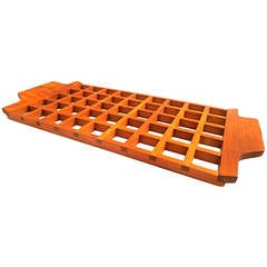 1950s Solid Teak Trivet Tray Made in Italy by Anri Form
