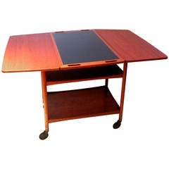 Teak Serving Table with Swivel-Top and Drop-Leaf Sides by Pontoppidan Ludvig