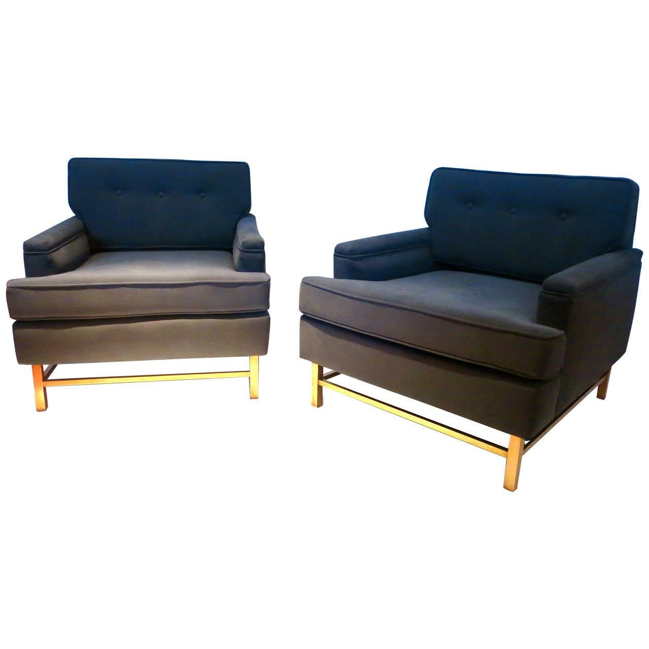 Pair Of Club Chairs By Martin Brattrud In Grey Fabric And