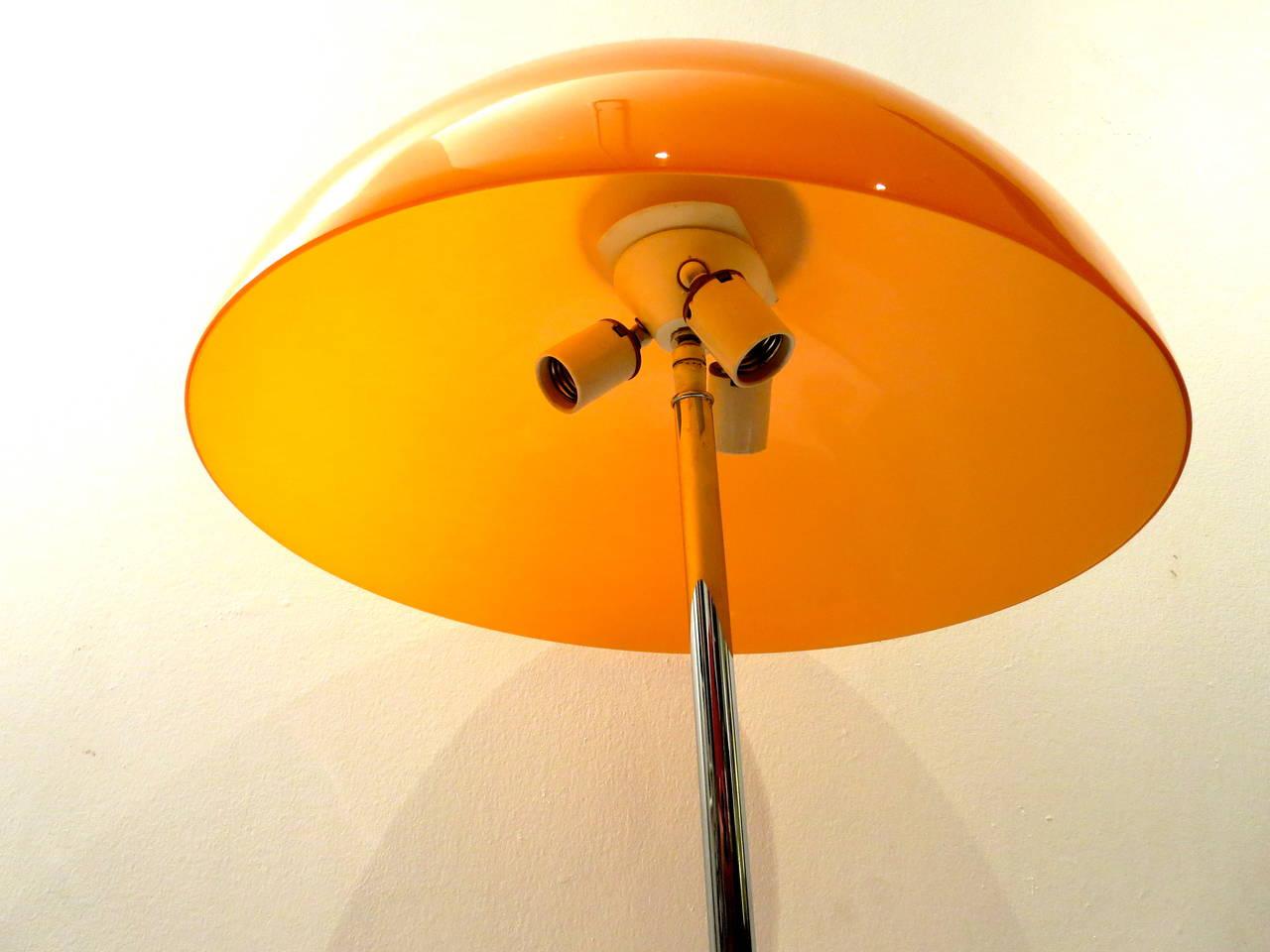 Scandinavian Modern 1960s Pop Desk Lamp In Orange Mushroom Glass Shade U0026  Chrome Stand For Sale