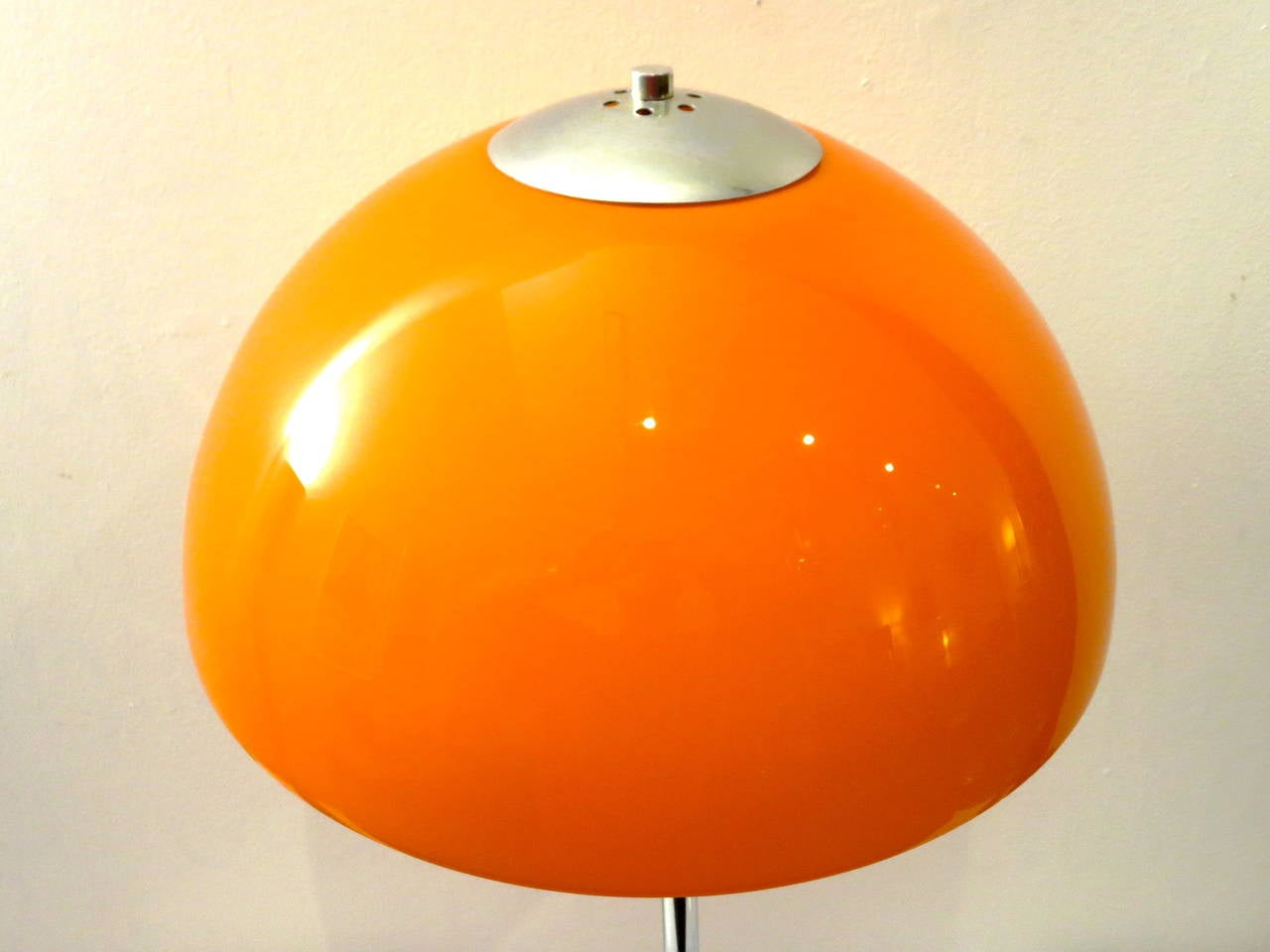 1960s Pop Desk Lamp In Orange Mushroom Glass Shade U0026 Chrome Stand In  Excellent Condition For